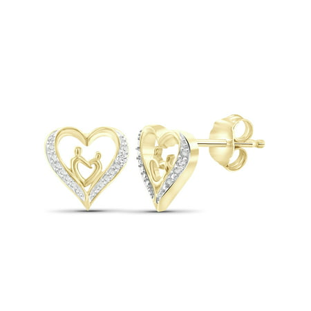 White Diamond Accent 14k Gold Over Silver Mother and Child Heart Stud - Cultured Kids Earring