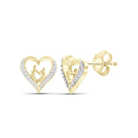 White Diamond Accent 14k Gold Over Silver Mother and Child Heart Stud - Modern Diamond Earrings