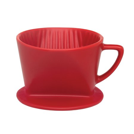 HIC Single cup Pour Over Coffee Filter Cone, Matte Red, Number 1-Size, 1-Cup Capacity