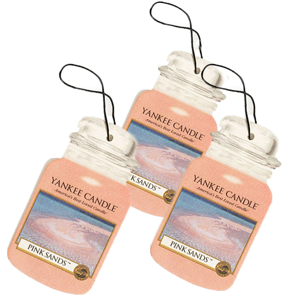 Yankee Candle Classic Paper Car Jar Hanging Air Freshener, Pink Sands (3 Pack)