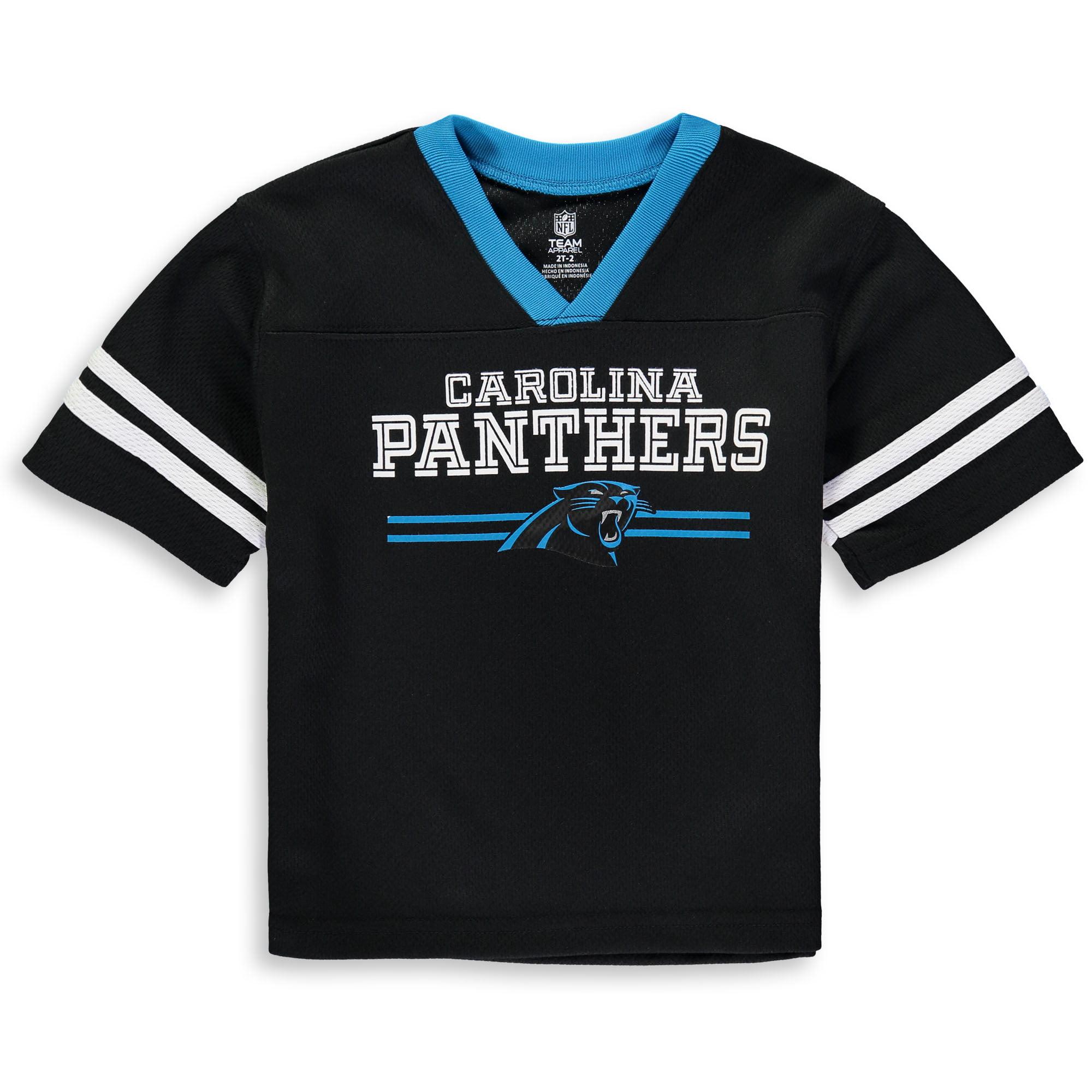 Toddler Black Carolina Panthers Mesh Jersey V-Neck T-Shirt