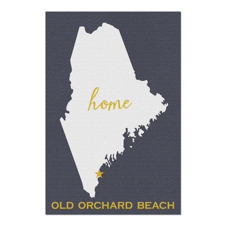Old Orchard Beach, Maine - State Outline - White on Gray (20x30 Premium 1000 Piece Jigsaw Puzzle, Made in USA!)