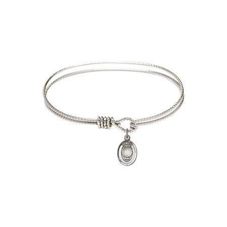 7 1/4 inch Oval Eye Hook Bangle Bracelet w/ Baptism in Sterling Silver