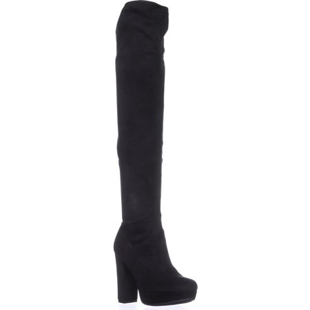 Womens B35 Night Platform Over-The-Knee Boots, Black (Platform Stripper Boots)