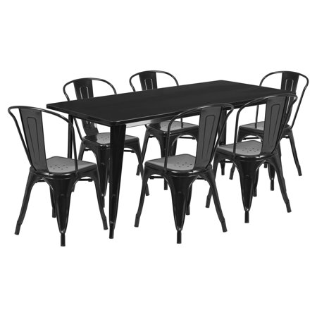 Metal Stack (Flash Furniture 31.5'' x 63'' Rectangular Metal Indoor-Outdoor Table Set with 6 Stack Chairs, Multiple)