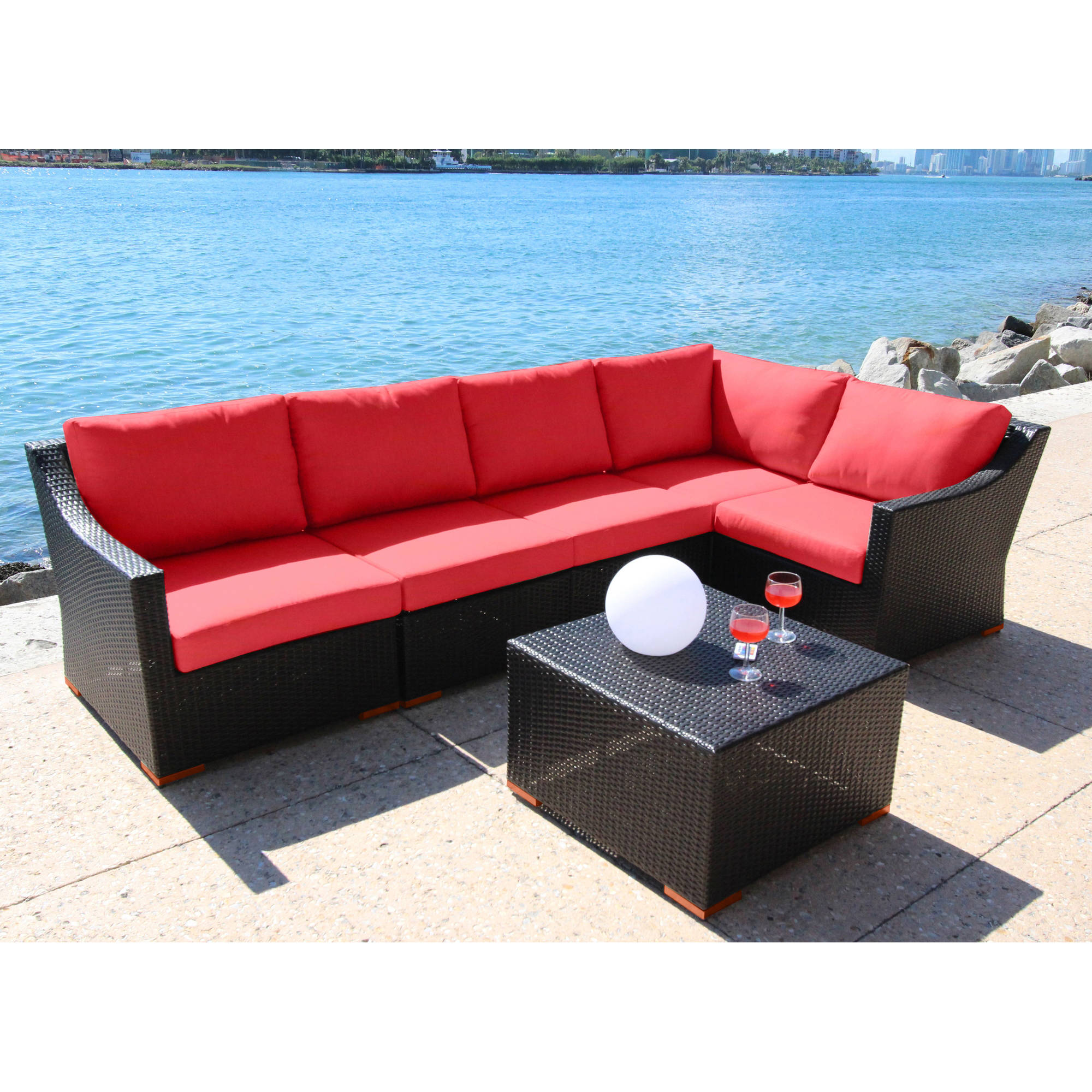 Bellini Home and Garden Cava 6-Piece Conversation Sectional Seating Set