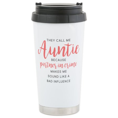 Cafepress   Auntie Partner In   Stainless Steel Travel Mug  Insulated 16 Oz  Coffee Tumbler