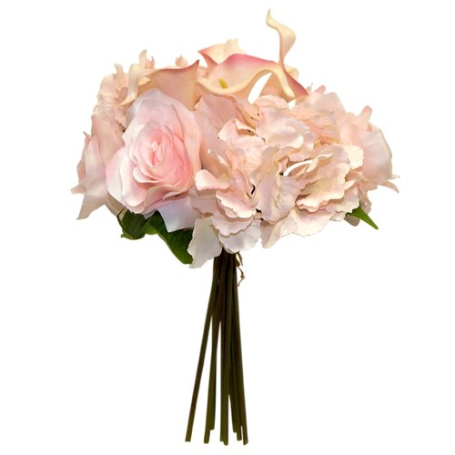 Charlton Home Hydrangea Calla Lily and Rose Mixed Floral Arrangement in Vase