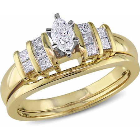 1/2 Carat T.W Marquise- and Princess-Cut Diamond 14kt Yellow Gold Bridal Ring Set