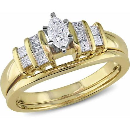 Marquise Good Cut Diamond (1/2 Carat T.W Marquise- and Princess-Cut Diamond 14kt Yellow Gold Bridal Ring Set)
