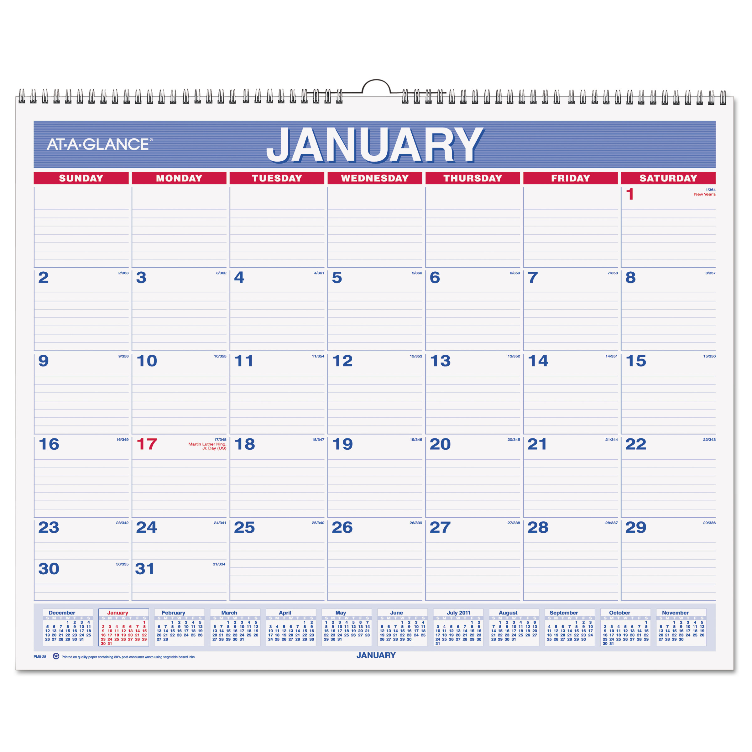 AT-A-GLANCE Monthly Wall Calendar, 15 x 12, Red Blue, 2018 by AT-A-GLANCE