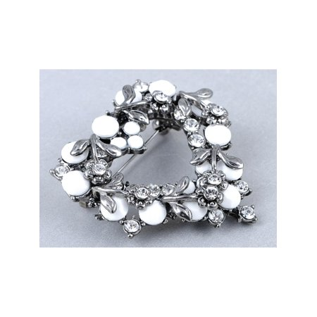 Gunmetal Heart - Crystal Elements Gunmetal Grey Tone White Bead Heart Wreath Pin Brooch