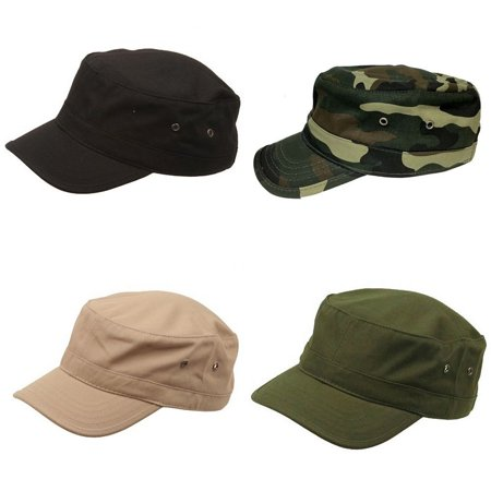Kids Youth Solid Cotton Army Military Cadet Castro Patrol Flat Cap Caps Hat Hats-Black