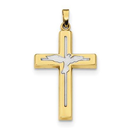 14k Yellow Gold Cross Religious Dove Pendant Charm Necklace