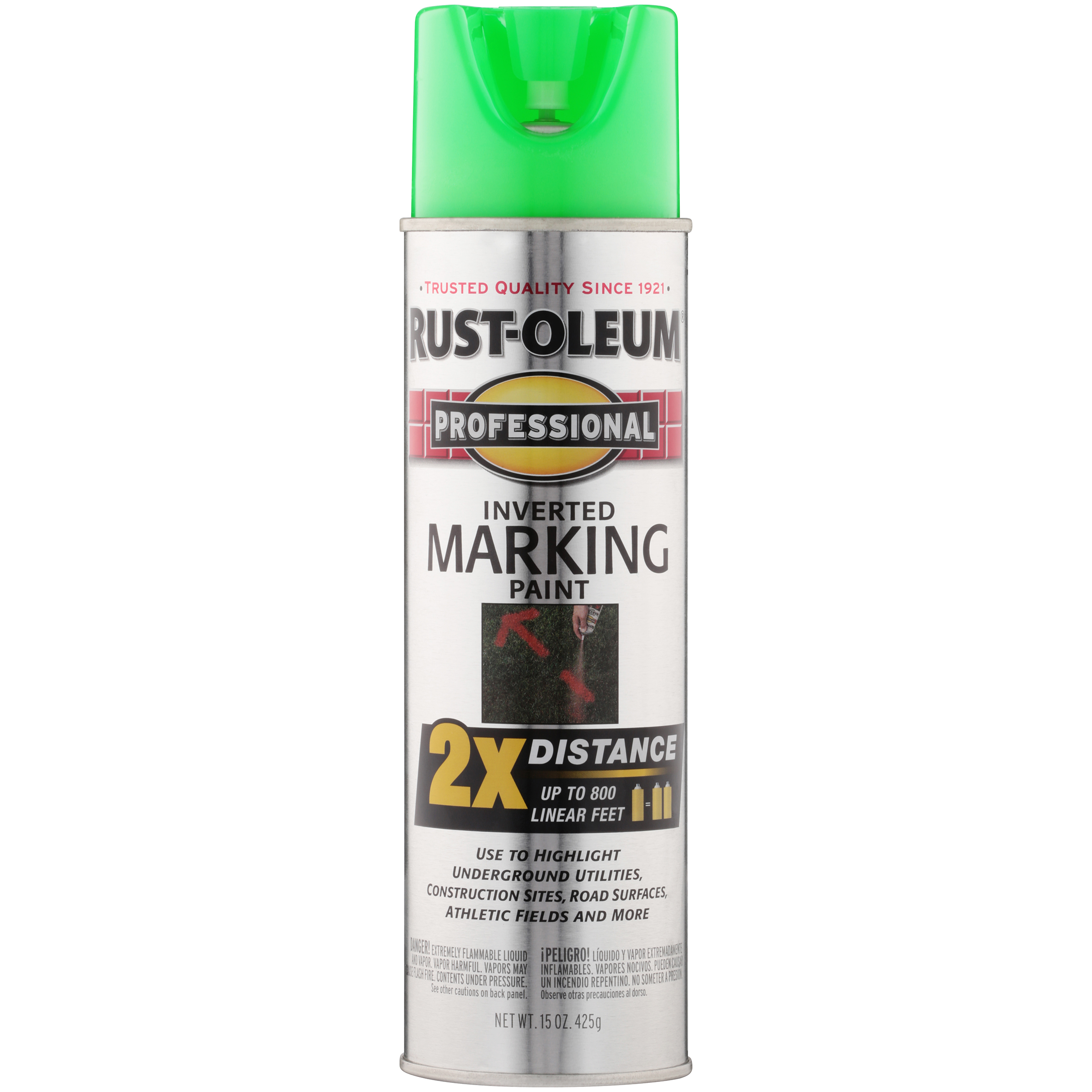Rust-Oleum Professional Fluorescent Green Inverted Marking Spray Paint, 15 oz