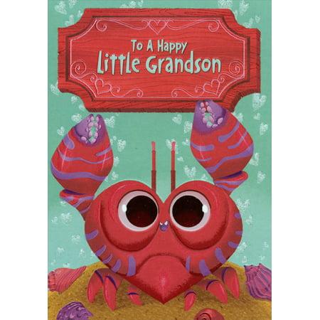 Designer Greetings Happy Crab: Grandson Juvenile Valentine's Day Card - Happy Valentine Cards