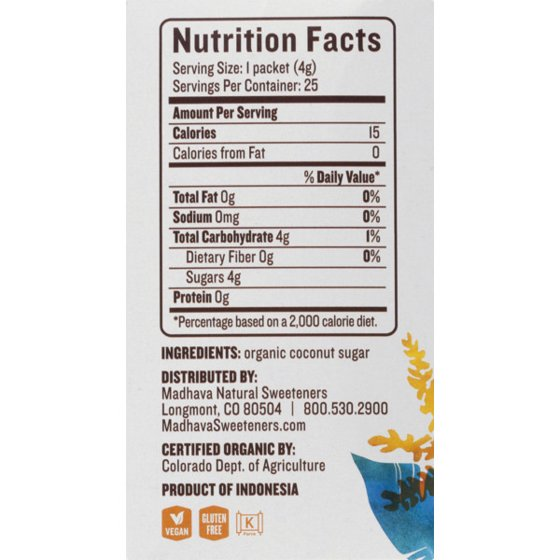 Madhava Organic Coconut Sugar Single Packets 25ct