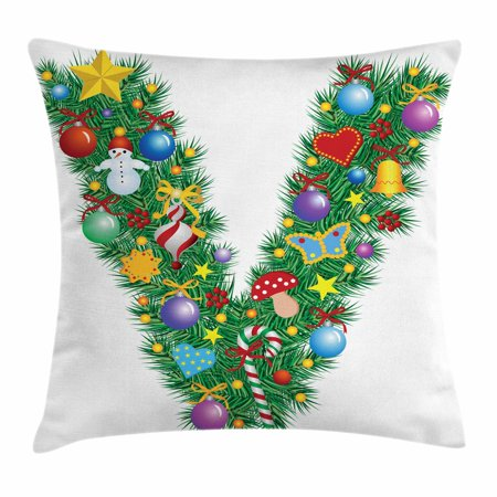 Letter V Throw Pillow Cushion Cover  Ornament Christmas Tree Design Capitalized V Festive Elements Bells Candies Print  Decorative Square Accent Pillow Case  24 X 24 Inches  Multicolor  By Ambesonne