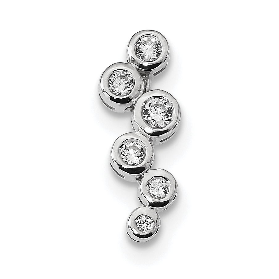 925 Sterling Silver Brushed Cubic Zirconia Slide Pendant