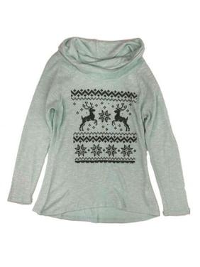 Product Image Junior Womens Blue Lightweight Green Cowl Neck Holiday Sweater Reindeer Shirt