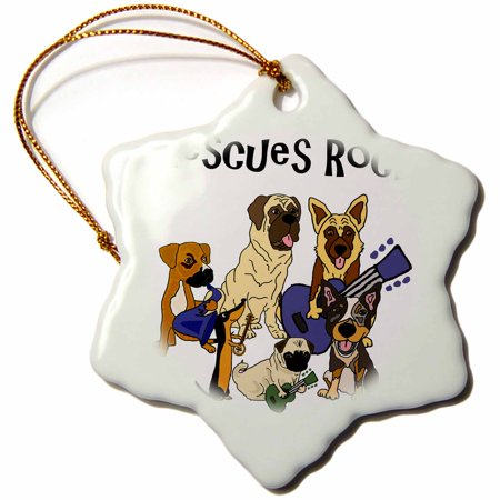 3dRose Cool fun Rescue Dogs Rock with pug, Mastiff, Dachshund - Snowflake Ornament, 3-inch