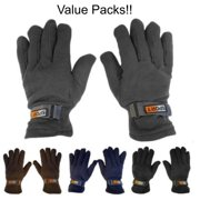 3 Pair Value Pack Mens Subzeros Sport Fleece Lined Adjustable Warm Winter Gloves