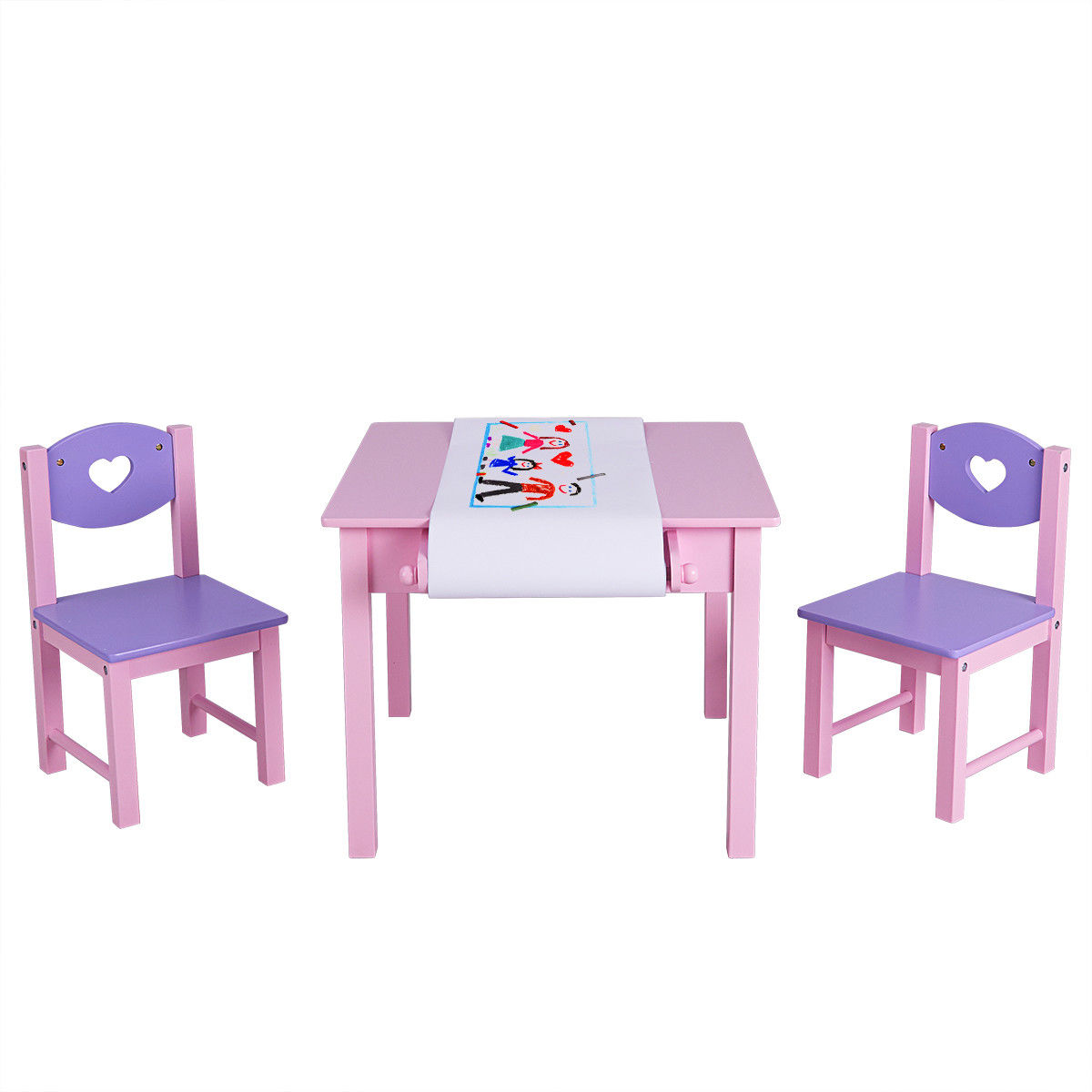 Costway Kids Art Table And 2 Chairs Set