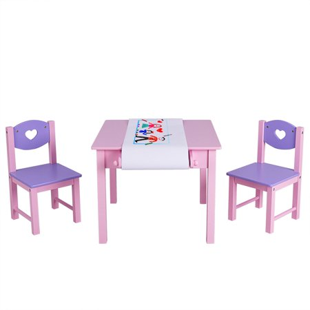 Costway Kids Art Table and 2 Chairs Set with Paper Roll Rack & 2 Drawers for Painting (Art Table And Chair Set)