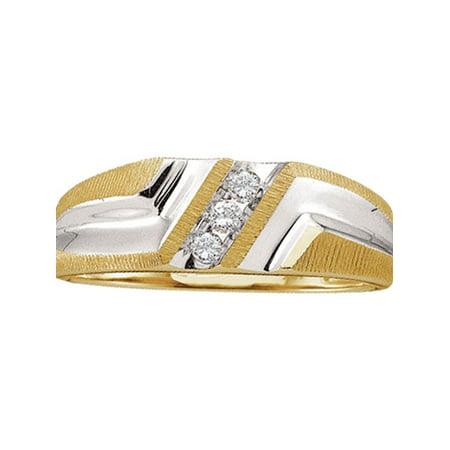 10kt Yellow Gold Mens Round Diamond Wedding Band Ring 1/10 Cttw - image 1 de 1