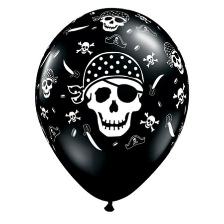 "Qualatex Pirate Skull & Crossbones 11"" Latex Balloons, Black, 6 CT"