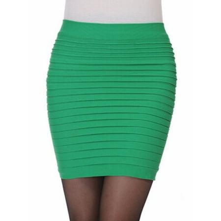 b1588e29af36a5 Anna-Kaci - Sexy Women A-Line Mini Skirt Pleated Seamless Stretch Tight  Fitted Bodycon BlackGREEN - Walmart.com