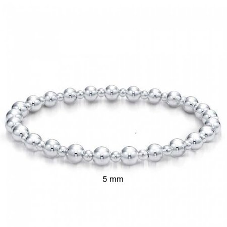 Small Shinny Round Ball Bead Stretch Bracelet For Women Teens 3-5mm Alternating Beads High Polished 925 Sterling Silver