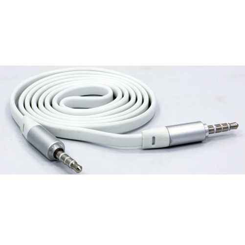 White Flat 6ft Long Aux Cable Car Stereo Wire Compatible