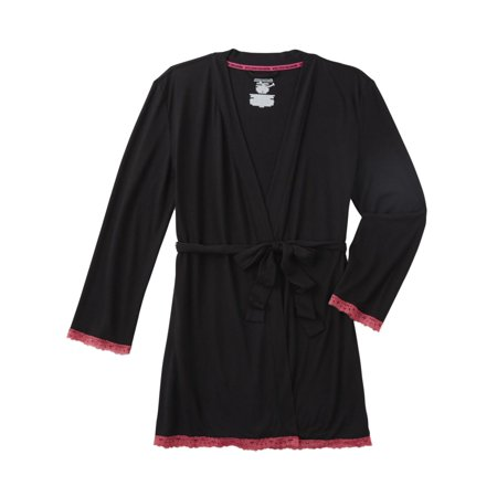 Womens Lightweight Black & Pink Semi-sheer Bath Robe Housecoat Bathrobe