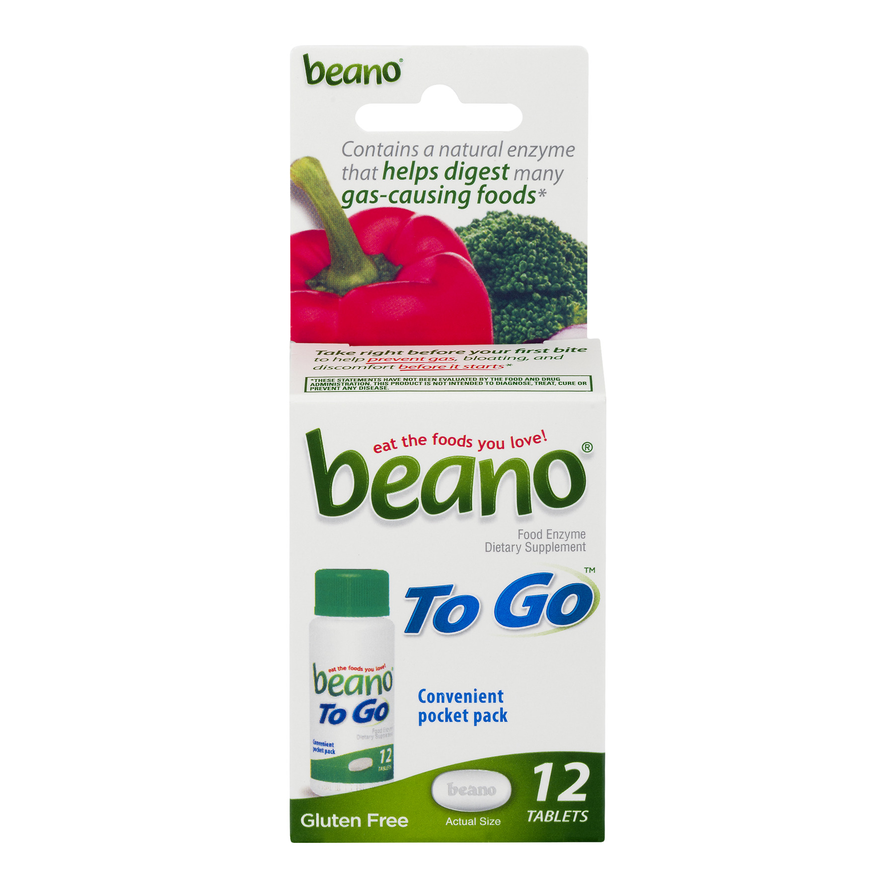 Beano To Go Food Enzyme Dietary Supplement Tablets, 12 count