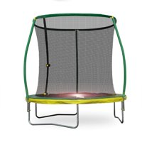 Bounce Pro 8-Foot Steelflex Trampoline with Pro Safety Enclosure and Mini Flashlight Zone (Green)