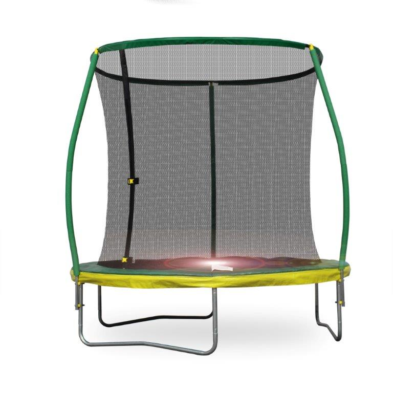Bounce Pro 8-Foot Steelflex Trampoline, with Pro Safety Enclosure and Mini Flashlight Zone, Green