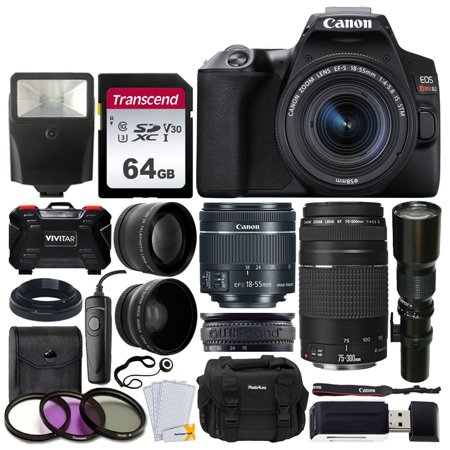 Canon EOS Rebel SL3 Digital SLR Camera + EF-S 18-55mm is STM & EF 75-300mm Lens + 500mm Long Lens + 58mm Wide Angle & 2X Telephoto Lens + 64GB Memory Card + Filter Kit + Wired Remote + DC59