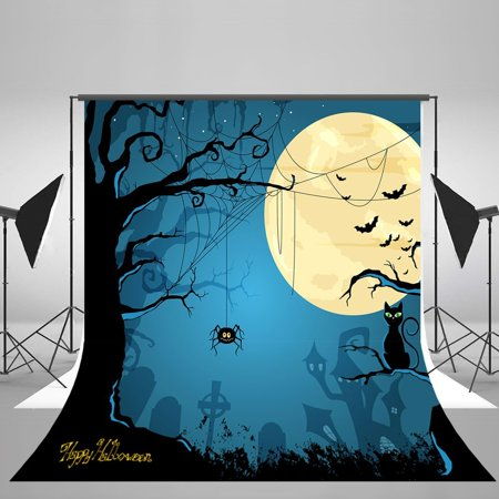 Halloween Party Photo Backdrop (GreenDecor Polyester Fabric 7x5ft Happy Halloween Moon Spider Black Cat Party Decorations Photography Backdrop Photo Booth)
