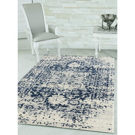 United Weavers Caledonia Lileth Distressed Midnight Blue Woven Olefin Frieze Area Rug or Runner ()