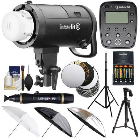 Interfit S1 500ws HSS TTL IGBT Studio Flash Strobe Monolight with TTL Remote + Tripod + Light Stand + 3 Umbrellas + 5 Reflector Disks + Kit for Canon
