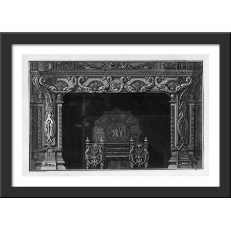 Fireplace: four pairs in the frieze of dolphins addressed; a rich interior wing 40x28 Large Black Wood Framed Print Art by Giovanni Battista (Large Dolphin)