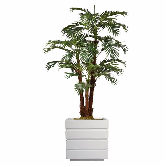 """72"""" Tall Palm Tree Artificial Decorative Indoor/ Outdoor Faux with Burlap Kit and Fiberstone Planter By Minx NY"""