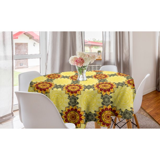 Mandala Round Tablecloth Vibrant Yellow With Floral Framework Petals Boho Circle Table Cloth Cover For Dining Room Kitchen Decor 60 Black Ruby By Ambesonne Walmart Com