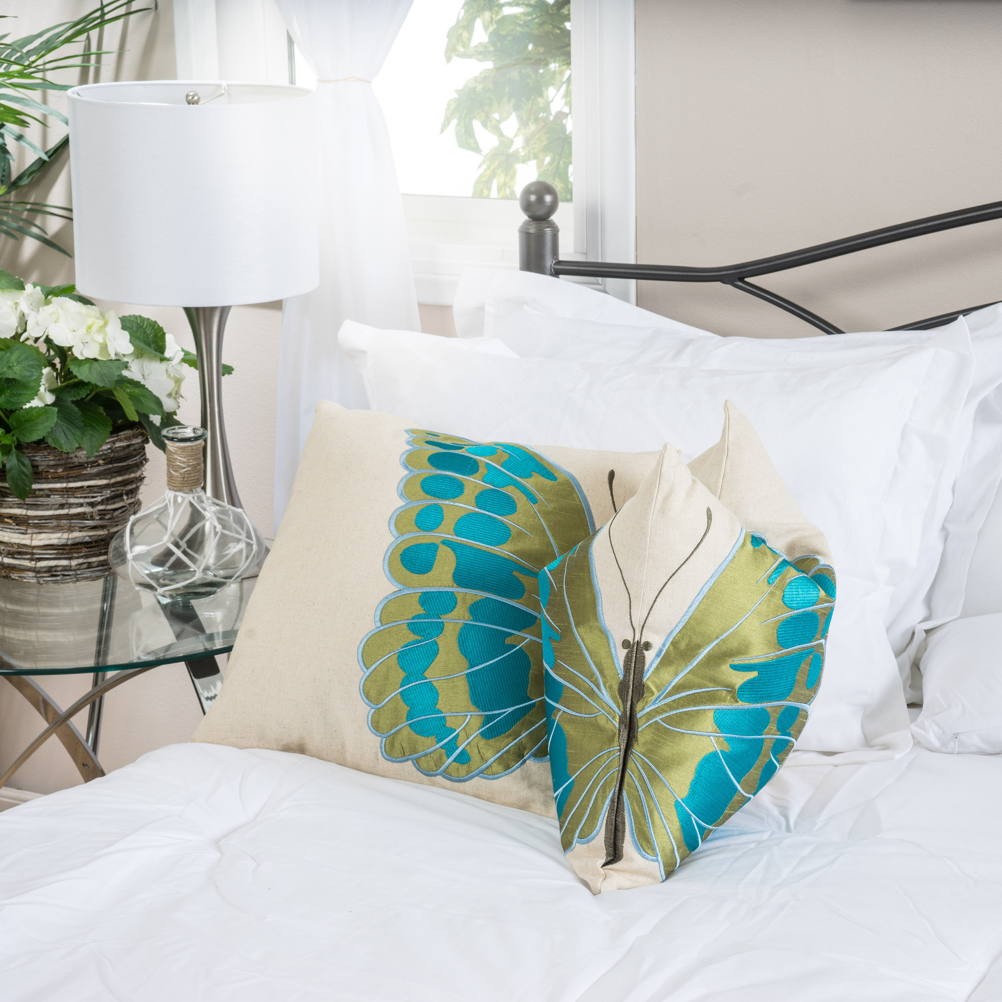 Embroidered Wings Pillows (Set of 2)