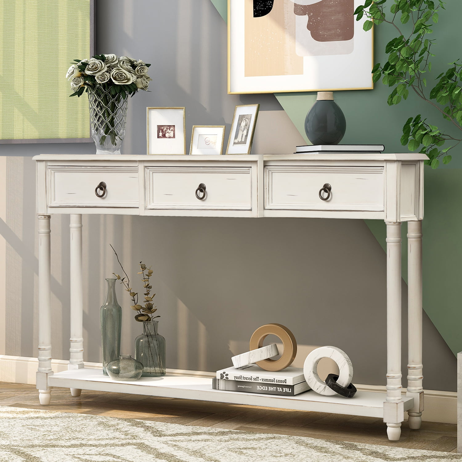 52 Narrow Console Sofa Table Farmhouse Entryway Hallway Couch With Storage Drawer Shelf Wood Buffet Cabinet Sideboard Accent Foyer Entrance For Living Room White A884 Walmart Com