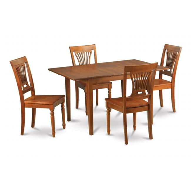 Wooden Imports Furniture PSPL7-SBR-W 7PC Picasso Rectangular Table and 6 Plainville Wood Seat Chairs - Saddle Brown Finish