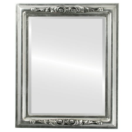 The Oval and Round Mirror Store Florence Framed Rectangle Mirror in Silver Leaf with Black Antique - Silver/Black - Florence Antique Mall