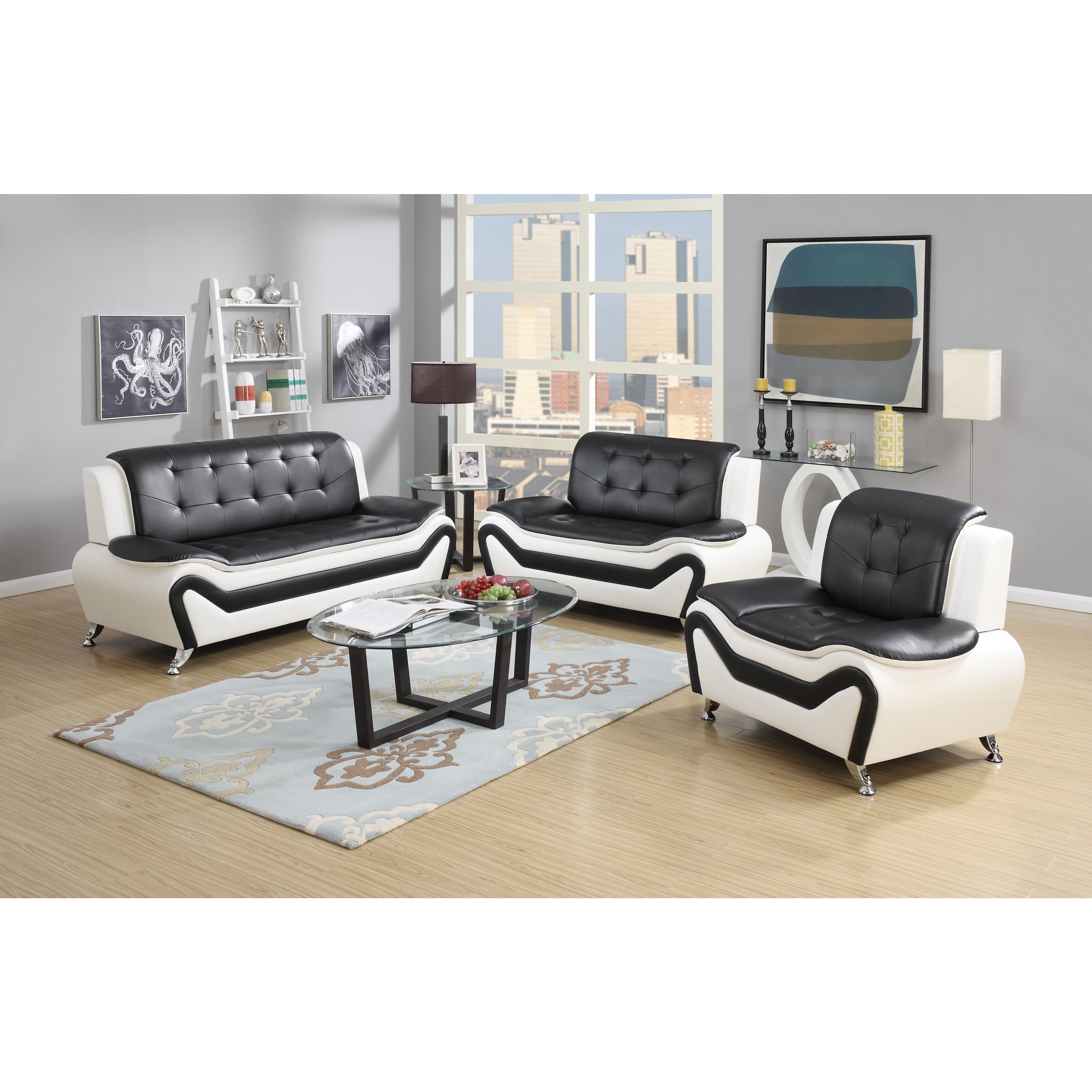US Pride Furniture Wanda 3-Piece Modern Bonded Leather Sofa Set