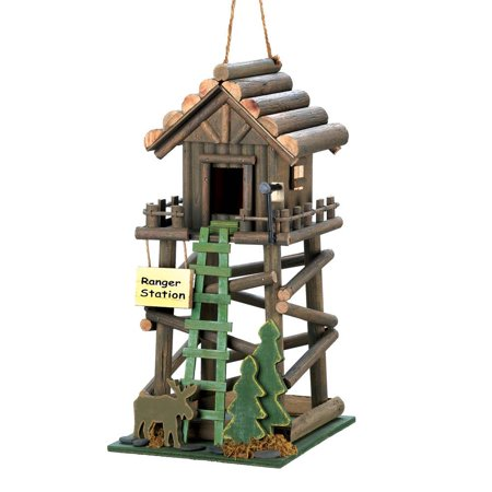 Decorative Wooden Birdhouse, Ranger Station Hanging Ornament Wood Birdhouse